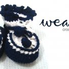 Crochet baby bootie (blue-white) RM15