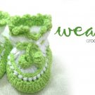 Crochet baby bootie (green-white) RM15