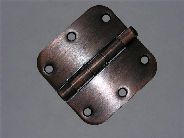 "3.5"" Venetian Bronze 3 ½"" Door Hinge w/screws 5/8 radius"