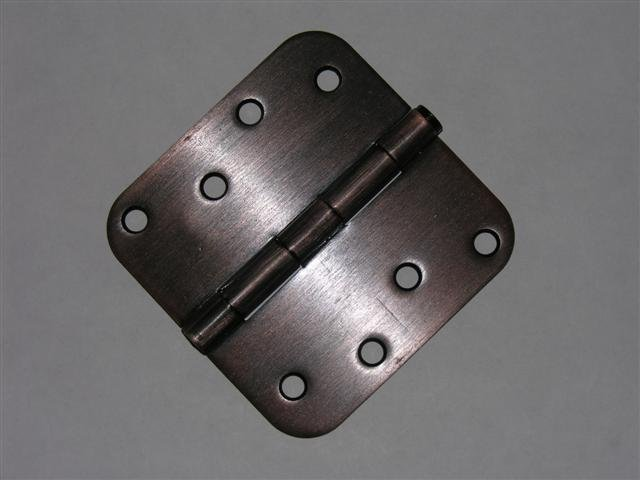 "4"" Venetian Bronze Door Hinge w/screws 5/8 radius"