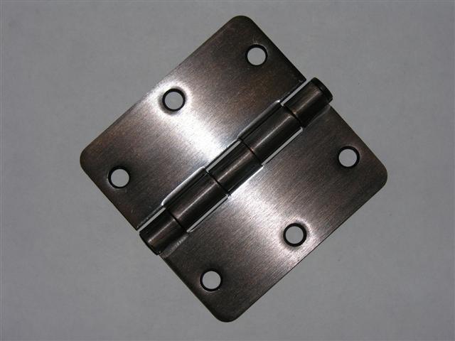 "3.5"" Venetian Bronze 3 ½"" Door Hinge w/screws 1/4 radius"