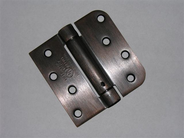 "4"" Venetian Bronze adjustable spring hinge Square x 5/8"" radius corners"