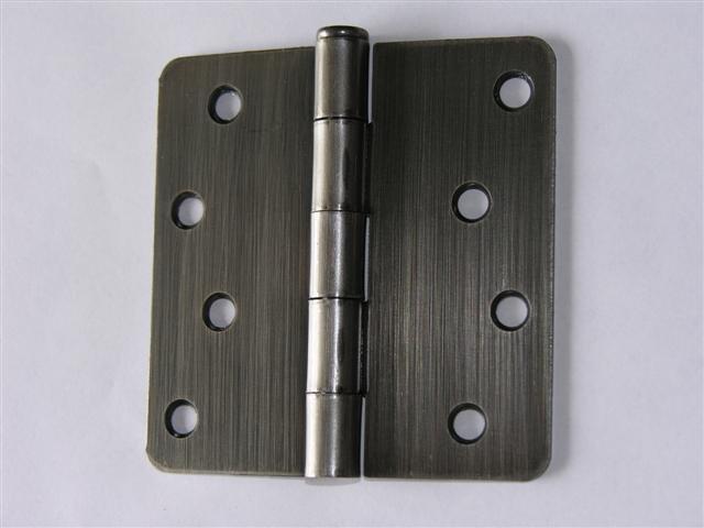"""4x4"""" Antique Pewter 4"""" Door Hinges w/screws 1/4"""" radius"""