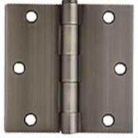 """3.5"""" Antique Pewter Door Hinges w/screws square corner radius"""