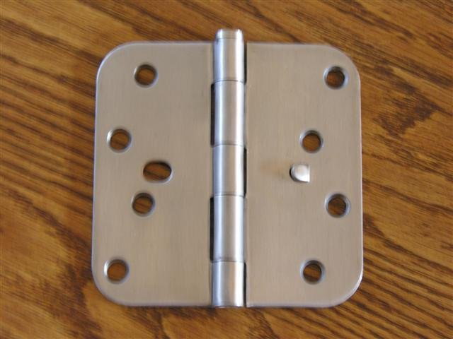 "Stainless Steel Security Tab 4""x4"" Door Hinges  5/8"" radius corners"