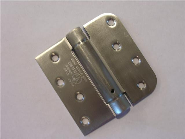 "4"" Stainless Steel adjustable spring hinge Square x 5/8"" radius corners"