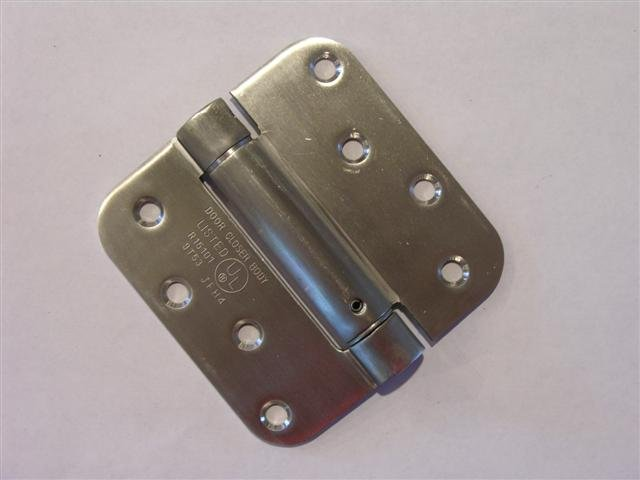 "4"" Stainless Steel adjustable spring hinge 5/8"" radius corners"