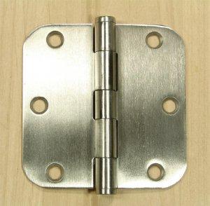 "Stainless Steel 3 1/2"" Door Hinges 5/8"" radius corners"