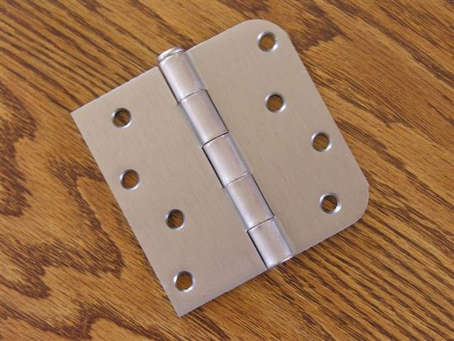 "Satin Nickel 4""x4"" Door Hinges w/screws square x 5/8"" radius corners"