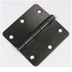 """3.5"""" Oil Rubbed Bronze 3 ½"""" Door Hinge w/screws 1/4 radius"""