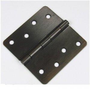 "Oil Rubbed Bronze 4"" Hinge with screws. 1/4"" radius US10B"