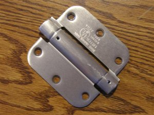 "Satin Nickel 3 1/2"" Adjustable Spring Hinges 5/8"" radius corners"
