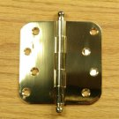 "Polished Solid Bright Brass with Ball tip pin 4""x4"" Door Hinges 5/8"" radius corners"