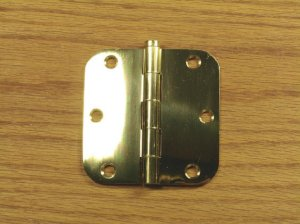 "Polished Solid Bright Brass 3 1/2"" Door Hinges 5/8"" radius corners"