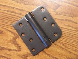 "4"" Oil Rubbed Bronze adjustable spring hinge Square x 5/8"" radius corners"