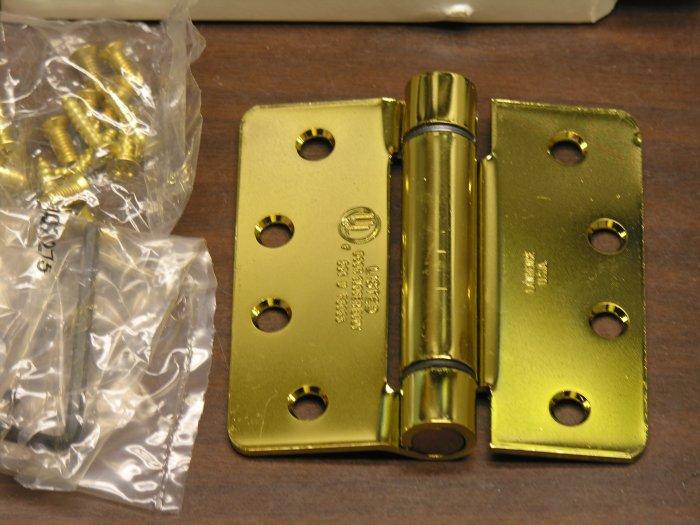 "4"" Polished Bright Brass adjustable spring hinge 1/4"" radius corners"