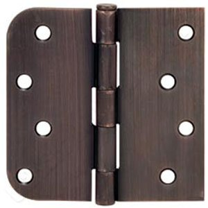 "4"" Venetian Bronze Door Hinge w/screws Square x 5/8 radius"