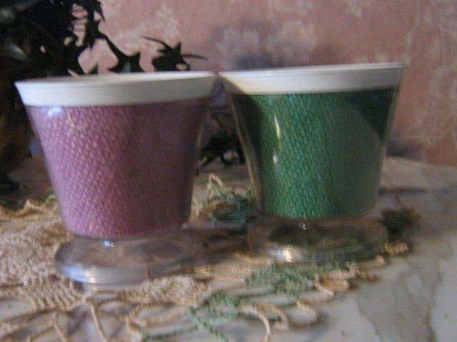 TWO~ 60s Thermal ware SHERBERT Footed dishes Plastic Burlap