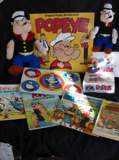 Popeye Collection Toys, Record Books 11 Item Lot