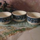 3 .. Vintage Blue Onion coffee cups .. China ..Buffalo China