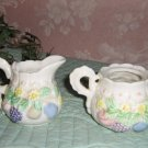 Vintage Cream & Sugar Set .. Raised Fruit .. porcelain