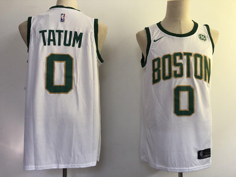 new concept b7dc9 c4be7 Mens Celtics 0 Jayson Tatum White Stitched Jersey City Edition 2018-2019