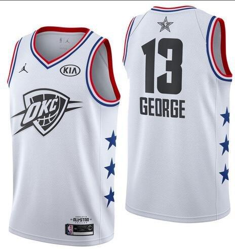 brand new 31112 975b6 2019 Paul George #13 Oklahoma City Thunder All Star Game Swingman Jersey  Mens White Size S-XXL