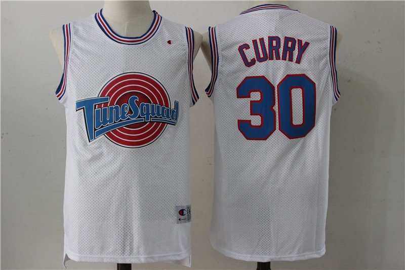 Men's Space Jam Jersey #30 Stephen Curry White Tune Squad Ba
