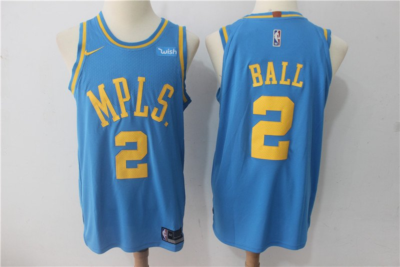 100% authentic 6a73f c26a0 New Men's L.A. Lakers #2 Lonzo Ball Retro stitch basketball jersey Blue