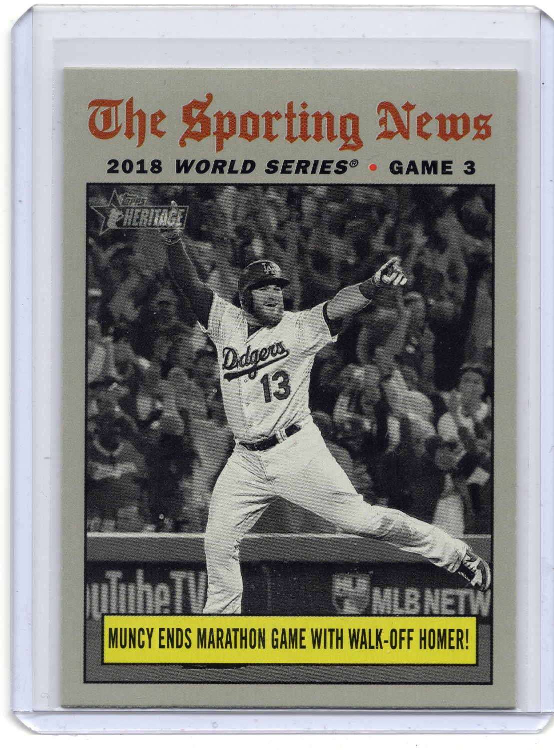 Max Muncy Walk Off Hr 2019 Topps Heritage Card 307 Los Angeles Dodgers