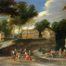 Jacques Fouquier  - VILLAGE LANDSCAPE , PEOPLE DANCING,