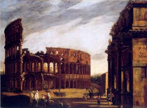 Michelangeo Cerquozzi - THE COLOSSEUM AND THE ARCH OF CONSTANTINE FROM THE
