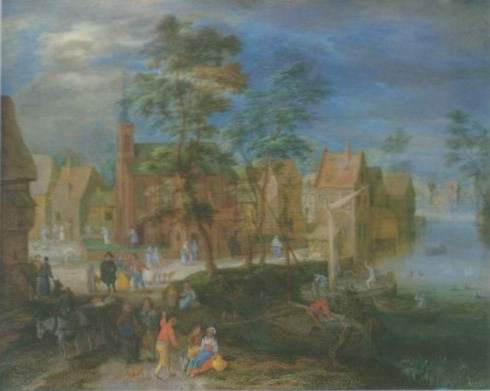 Pieter gysels - A VILLAGE SCENE