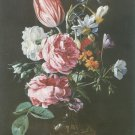 Jan van den hecke - ROSE , PARROT TULIP NARCISSI GLASS VAS ON STONE L