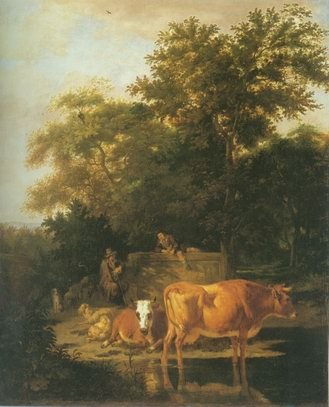 Adriaen Van De Velde - WOODED LANDSCAPE WITH HERDSMEN RESTING AND COWS WA