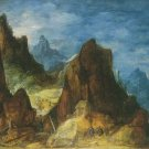 Joos De Momper -  MOUNTAINOUS SCENERY , TRAVELLERS NEAR A HUT