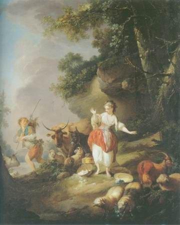 Jean Baptiste Huet - SHEPHERDESS AND A DROVER