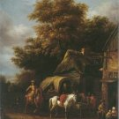 Barend Gael - HORSEMAN HALTING AT INN