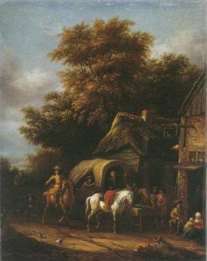 Barend Gael - HORSEMAN HALTING AT INN
