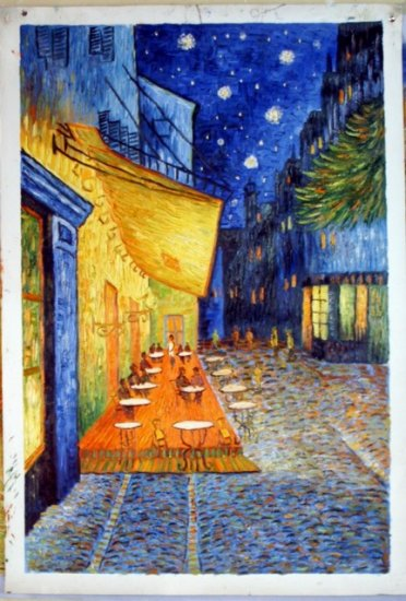 THE CAFE TERRACE ON THE PLACE DU FORUM AT NIGHT-Vincent Van Gogh paintings