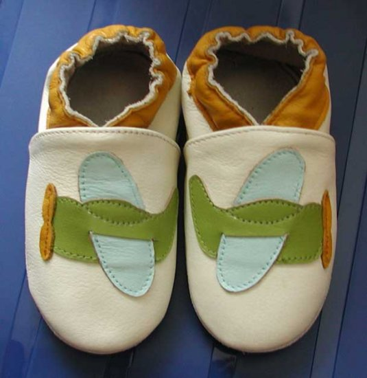 new soft sole baby leather shoes AIRPLANE cream (6-12 mo)