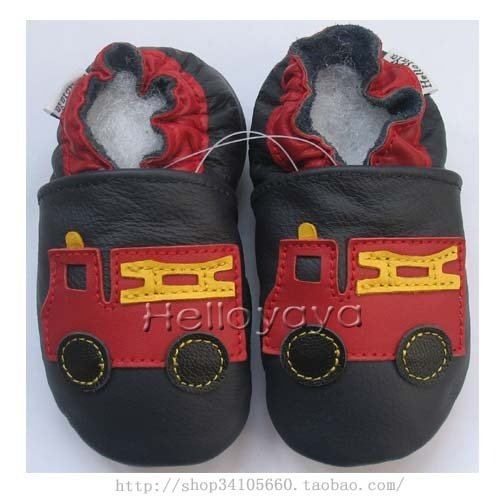 new soft sole baby leather shoes FIRE TRUCK (0-6 mo)