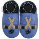 new soft sole baby leather shoes HOCKEY blue (0-6 mo)