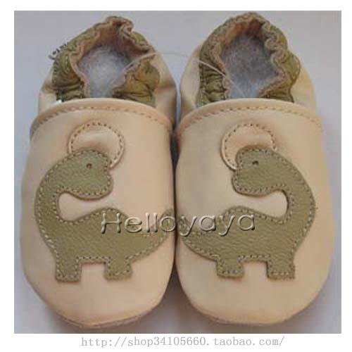 new soft sole baby leather shoes DINO cream (6-12 mo)