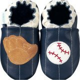 new soft sole baby leather shoes BASEBALL navy (0-6 mo)