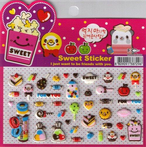 Korean Happy Foods Sweet Sticker Sheet # 4