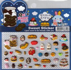 Korean Happy Foods Sweet Sticker Sheet # 5