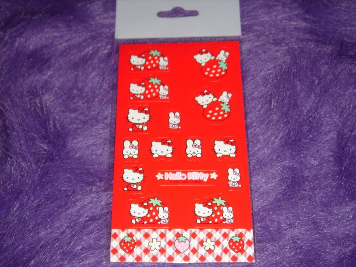 Hello Kitty Sanrio Strawberry Sticker Sheet
