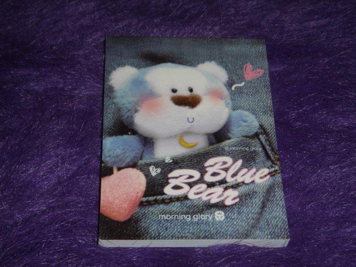 Morning Glory Blue Bear Denim Jeans Mini Memo Kawaii