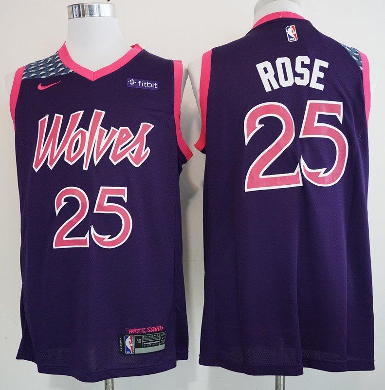 pretty nice 3e201 f9c42 Men's Minnesota Timberwolves Derrick Rose Basketball Jersey Purple City  Edition Embroidered